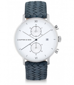 Zegarek Kapten Chrono Silver Light Blue Woven Leather