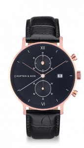 Zegarek Kapten Chrono All Black Croco